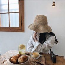 942ea19036cfc Renda branca de crochê Japoneses pescador grande eaves lafite grama ms sol  chapéu de palha chapéu