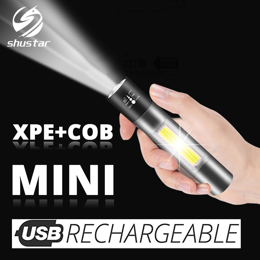 Rechargeable MINI LED Flashlight With COB Side Light Support Zoom, 3 Lighting Modes LED Torch Suitable For Cycling, Camping, Etc