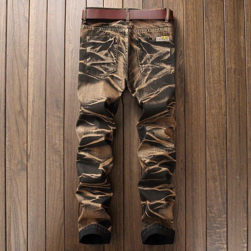 #2742 Fall/winter 2017 Vintage Punk Biker jeans Hip hop Skinny jeans men Large size jean slim homme Distressed Denim moto jeans