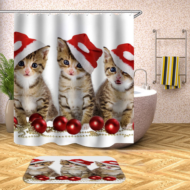 New Year Shower Curtain Cat Dog Christmas Hat Waterproof Bath Curtains Bathroom For Bathtub Bathing Cover Large Wide 12pcs Hooks
