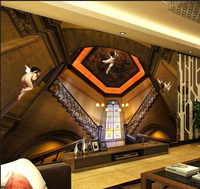 Latest custom 3D large mural,Retro European architectural Angel stairs ,living room tv background bedroom wall wallpaper