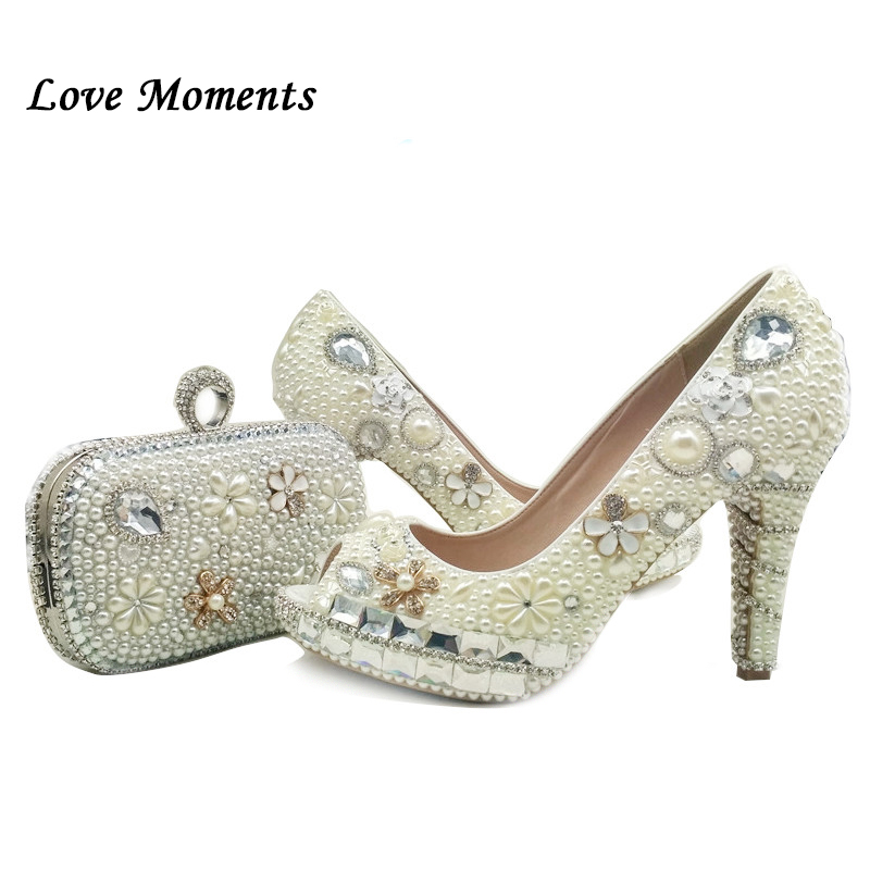 Love Moments Beige white Pearl Wedding shoes with matching bags high heels shoes woman Peep toe