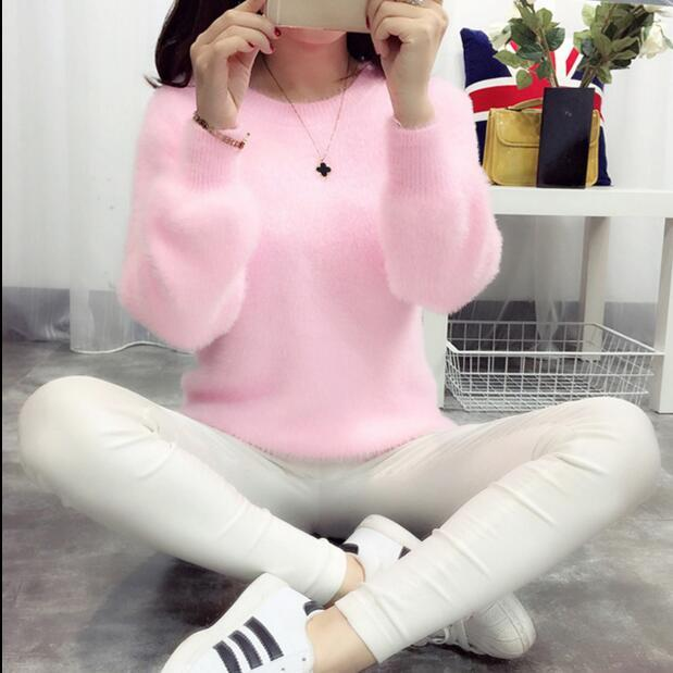 Sweater Women Mohair Pullovers 2016 Winter Autumn Long Sleeve Wool Female Pullovers Kintted Thick Loose Women Cashmere Sweaters