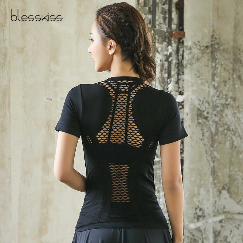 Detail Feedback Questions about BLESSKISS Mesh Yoga Shirts Tops Sports  Fitness Tanks Sport T shirt Woman Gym Athletic Workout Running Clothes For  Women on ... 60e9b0daa799