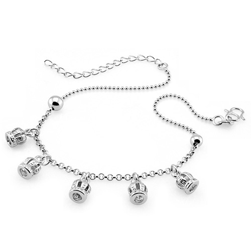 Women fashion 925 silver crown pendant chains noble princess anklets summer sterling silver accessories free shipping