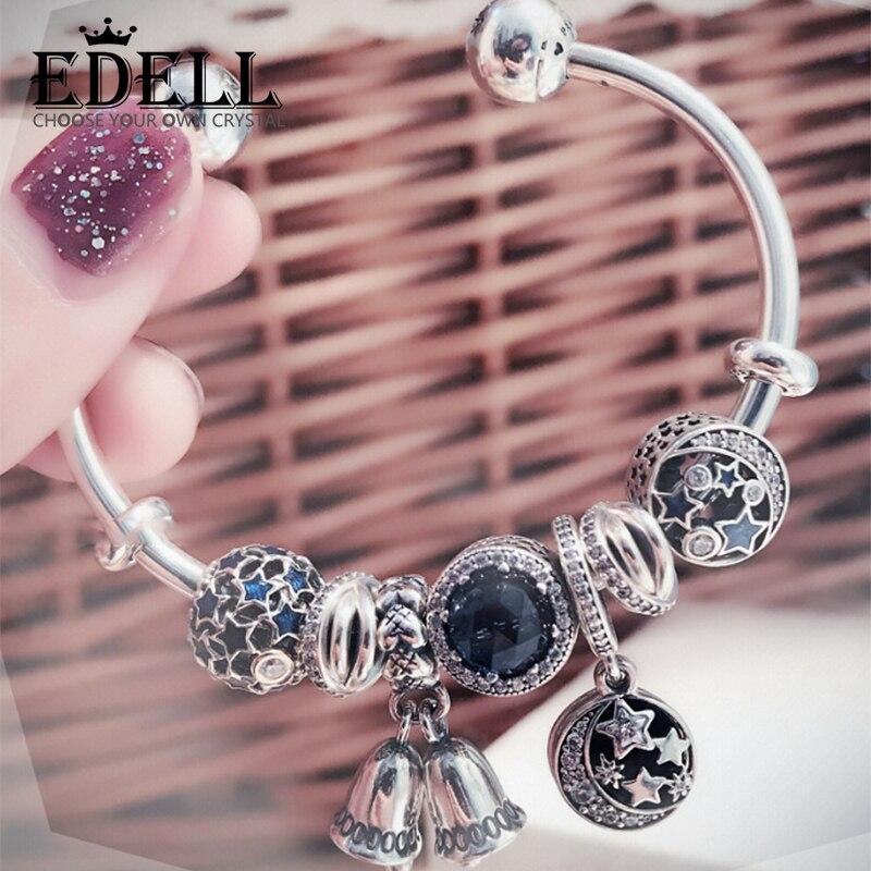 EDELL 100% 925 Sterling Silver Winter Christmas Bracelet Set Star Moon Wind Chimes Ocean Heart Charm Women Original Jewelry classic english word heart moon bracelet for women