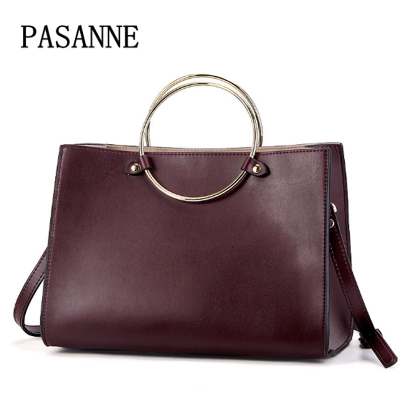 New Women Bag Real Leather Handbag Circle 2017 New PASANNE Fashion Brand Genuine Leather Female Handbags Woman Shoulder Bags