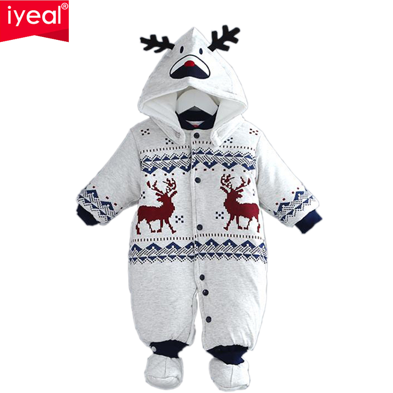 IYEAL Newborn Christmas Deer Baby Boy Warm Infant Romper Kid Jumpsuit Hooded Infant Clothes Outfit Winter Baby Clothing цена