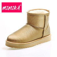 MINIKA Slip On Ankle Boots Women Fashion Luxurious Gold Sequin Snow Boots Women Warmful Plush Platform