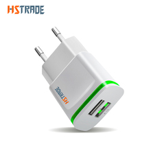HSTRADE 5V 2A EU Plug LED Light 2 USB Adapter Mobile Phone Wall Charger Device Micro Data Charging For iPhone 8 6 iPad Samsung