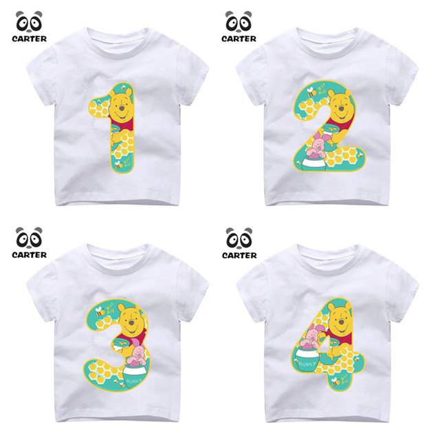 Kid Happy Birthday Number 19th Cartoon Bear Print T Shirts Boy And Girl Tshirt Baby Summer Top Children Clothes