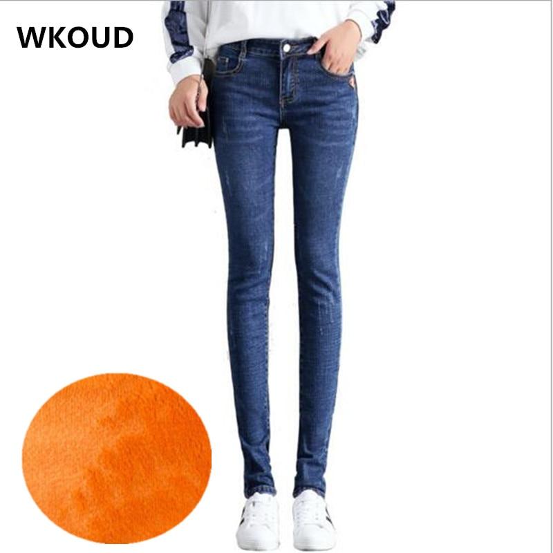 WKOUD 2018 Women's   Jeans   Winter Warm   Jeans   Slim Skinny Pencil Pants Female Thickening Fleeces Denim Trousers Plus Size P8448