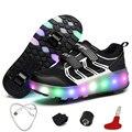 Светящиеся кроссовки для мальчиков с роликами  перезаряжаемые светодиодные кроссовки с колесами  светящиеся кроссовки для детей  обувь с д...