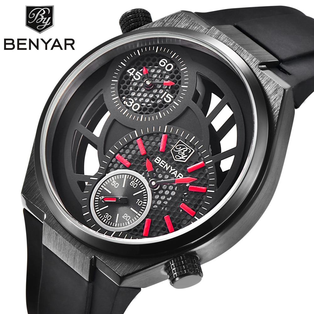 ФОТО Benyar Men's Multiple Time Zone Watch Top Brand Luxury Waterproof Sport Quartz Wrist Watch For Men Clock Male relojes hombre