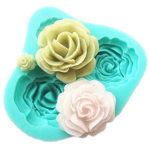 3D M0071 4 τριαντάφυλλα κέικ μούχλα σιλικόνης εργαλεία ψησίματος αξεσουάρ κουζίνας διακοσμήσεις για κέικ Φρέσκο σαπούνι σοκολάτες