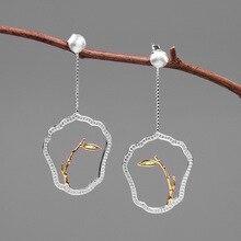 INATURE 925 пробы серебряные трендовые бамбуковые Висячие серьги для женщин ювелирные изделия