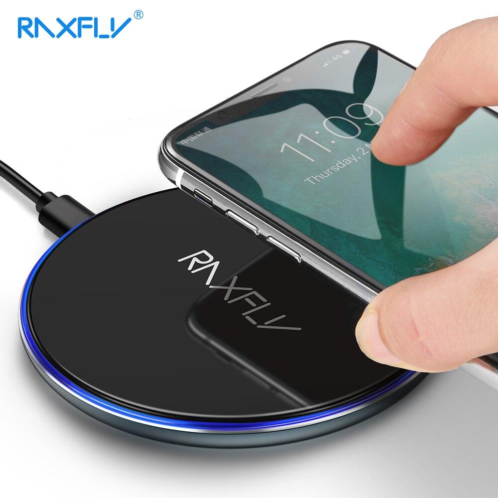 RAXFLY 10 w QI Caricatore Senza Fili Per iPhone X XR XS Max 8 Più Il Pad Caricabatterie Per Il Samsung S8 S9 più Nota 8 9 S7 QI Caricabatterie Wireless