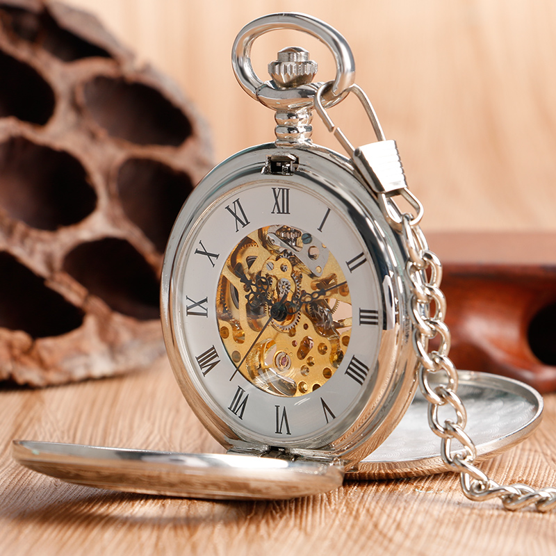 Women Men Pocket Watch Mechanical Stainless Steel Luxury Retro Gold Skeleton Hollow Dial Hand Winding Roman Numbers Pendant Gift elegant retro fob chain pendant copper roman numbers skeleton hand winding mechanical pocket watch flower dial gift womens mens