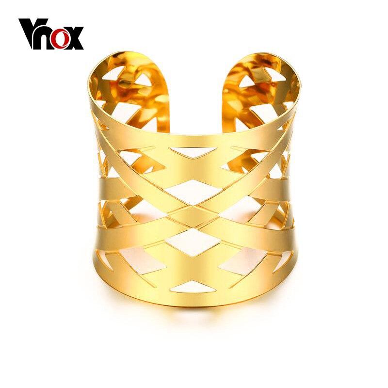Vnox Hollow Cross Wide Wrap Cuff Bangles Bracelets for Women Jewelry Gold-color Costume Statement Bracelets Jewelry gold open cuff bracelets for women bijoux jewelry