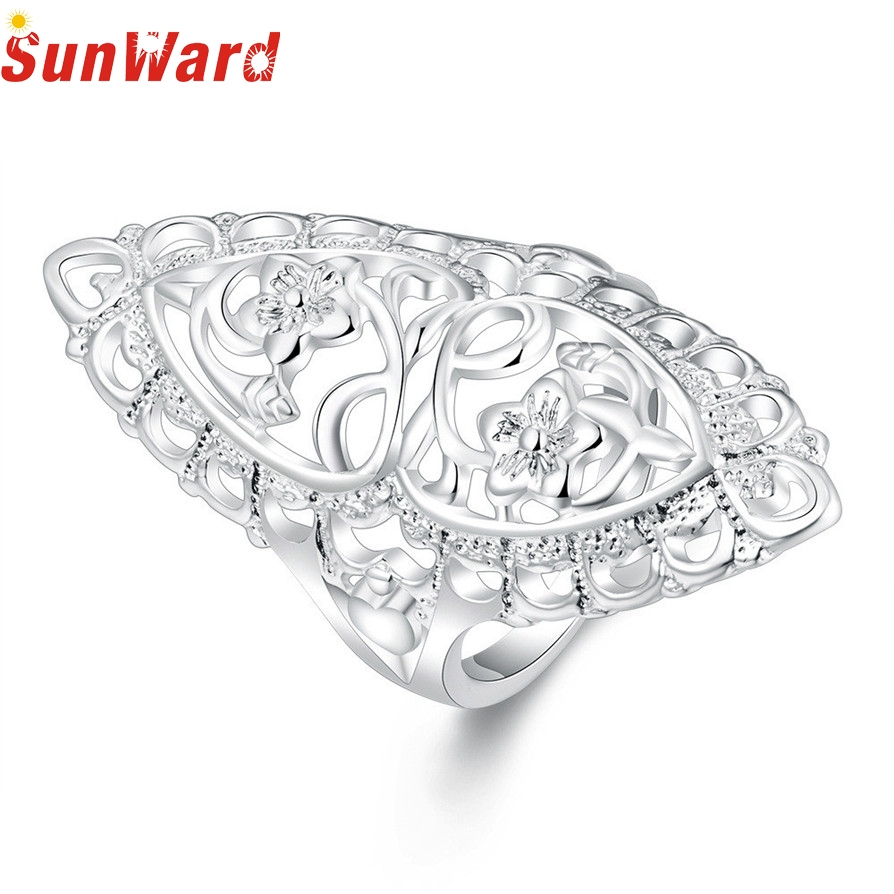 Ring jewelery Silver Color Rings Hot Fashion Cute Filled Hollow Big Ring Ladies Finger Jewelry Gift Drop Shipping