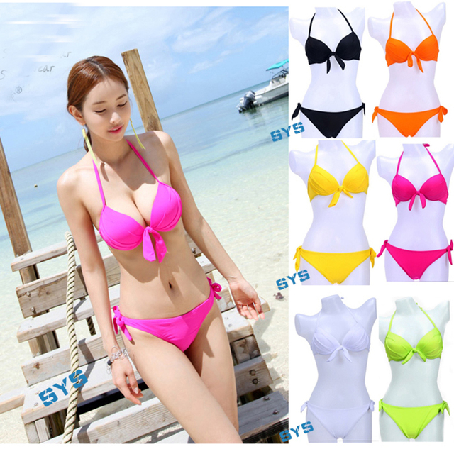 b4eefffc3cb New Chic Brazil Bikini Women Push up Neon Color Swimwear Bowknot Padded Bathing  Suit Bow Swimsuit Beach Wear Biquinis Dress
