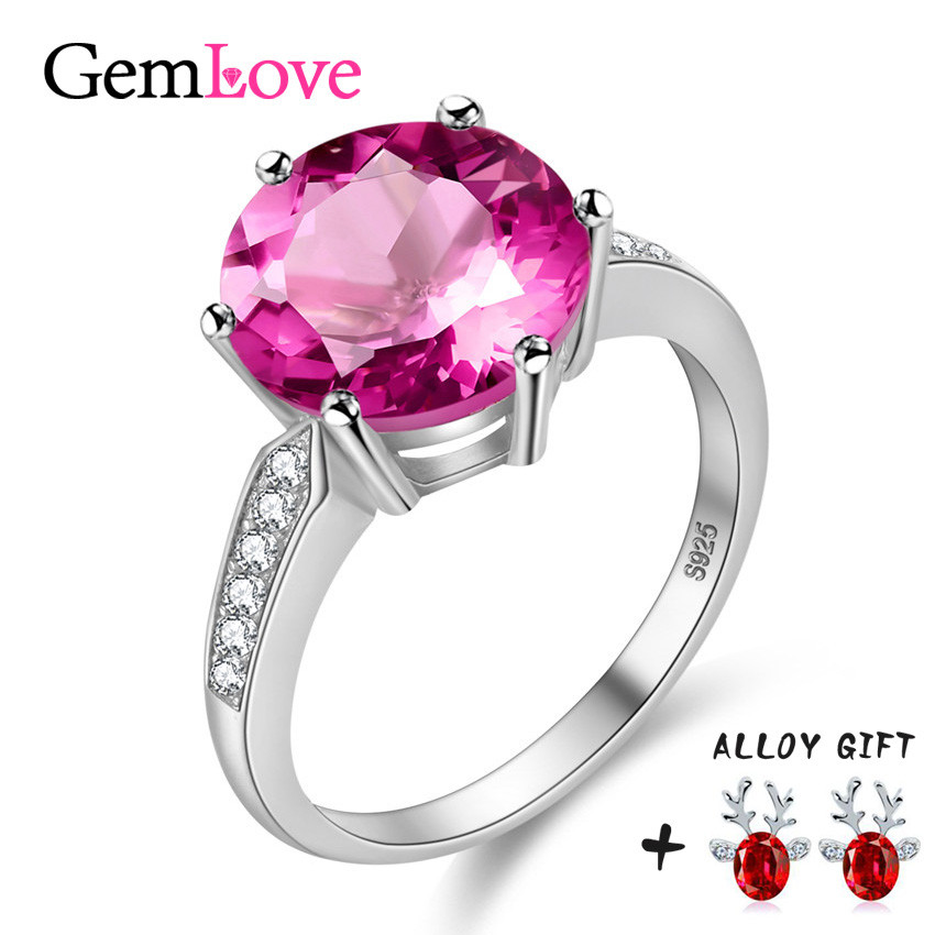 gemlove 925 silver natural stone rings 42ct pink topaz tested sterling silver jewelry wedding ring