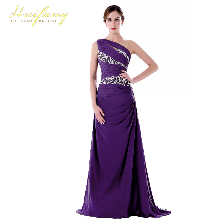 Long bridesmaid dresses elegant one shoulder crystal for Dresses for wedding party