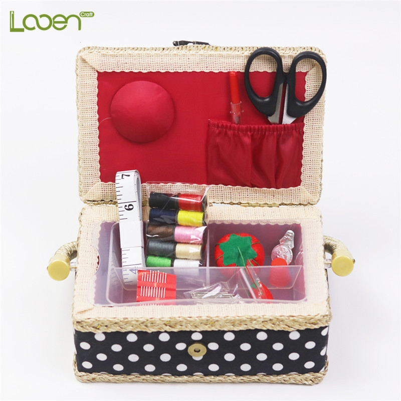 Handmade Cotton Fabric Storage Sewing Basket Thread Scissors Tools Accessory Craft Box For Women Wife Gift