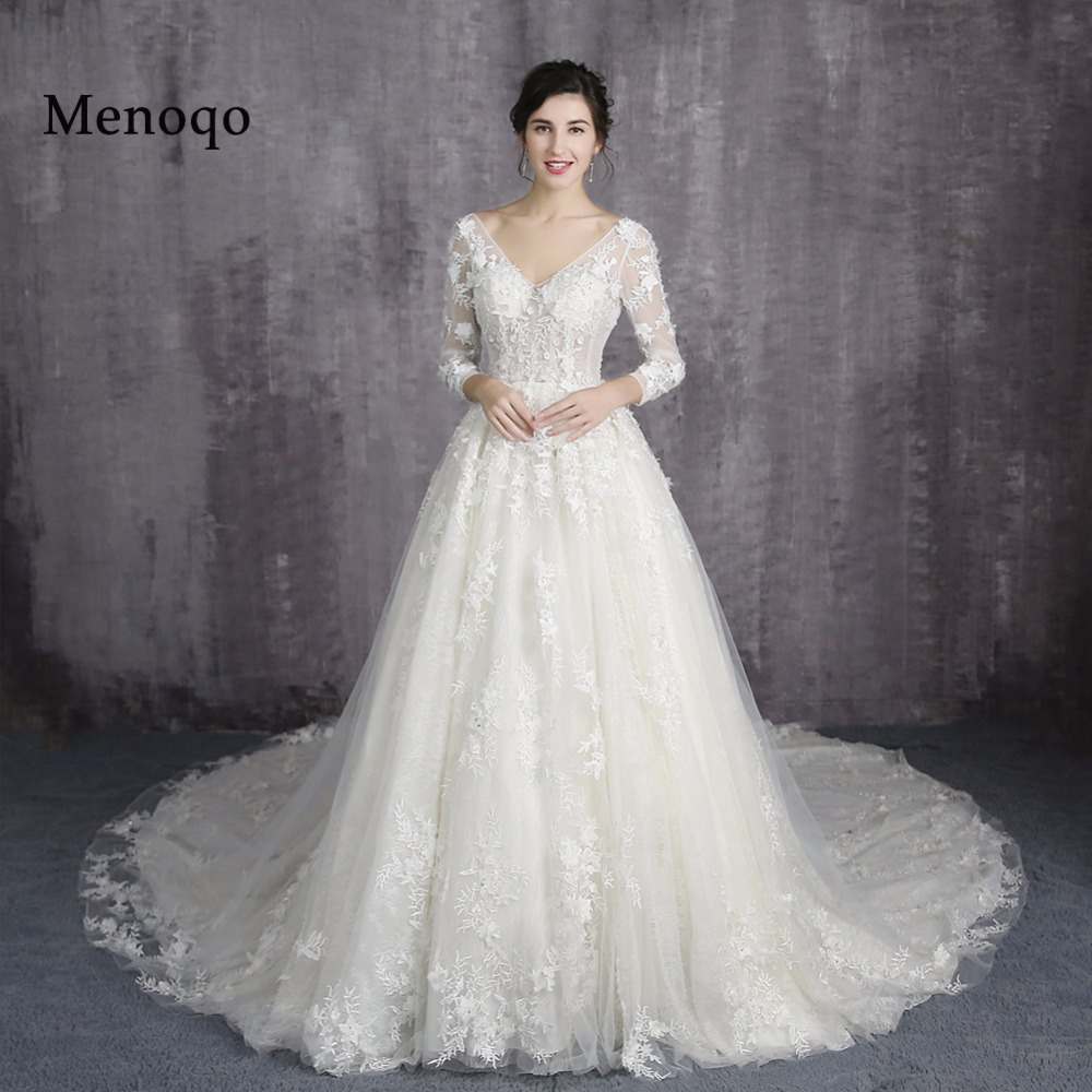 A Line Wedding Gown With Sleeves: Menoqo Lace Up Back A Line Wedding Dresses Lace Big Train