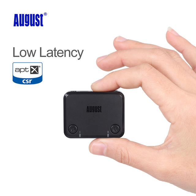 August aptx baja latencia de audio óptico adaptador de audio bluetooth transmisor de tv inalámbrica de doble enlace para auriculares/altavoces