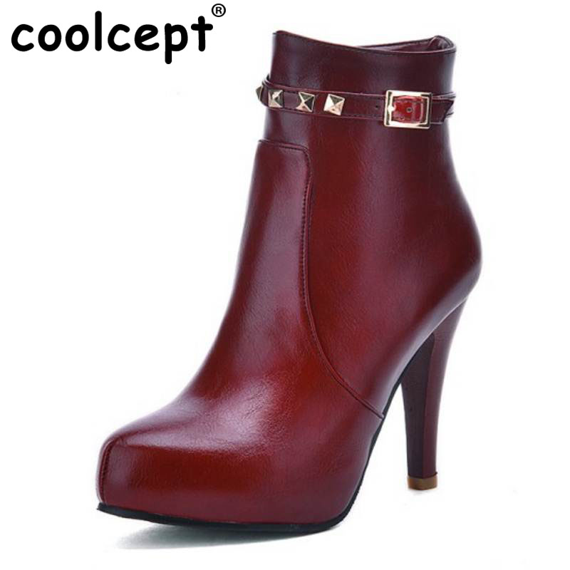 Coolcept Women High Heel Half Boots Patent Leather Pointed Toe Shoes Woman Heeled Heels Botas Dress Footwear Size 33-43