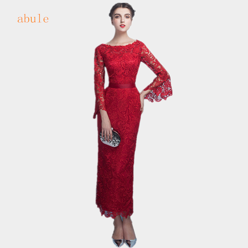 abule 2017 summer lace long Evening Dresses o-neck mermaid ankle-lemght Red wine elegant Prom Dress sashes Robe De Soiree