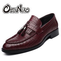 OUDINIAO Slip On Flats Alligator Men Shoes Genuine Leather Shoes Pointed Toe Loafers Tassel Shoe Man