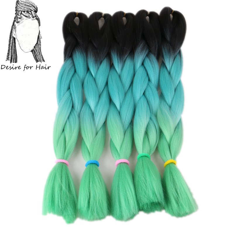 Desire For Hair 10packs Per Lot 24inch 100g Heat Resistant Synthetic Ombre Jumbo Braiding Hair Extensions 3 Tone Green Color