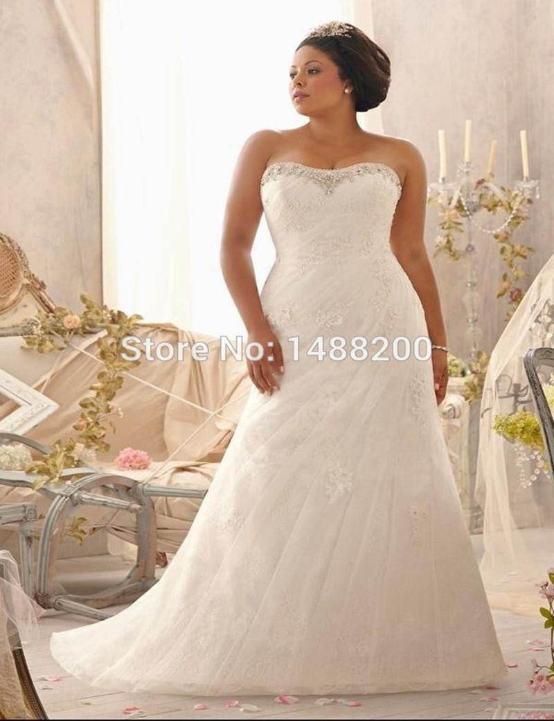 Full Figure Wedding Plus Size Tulle With Lace Beaded Sweetheart Back Up Sleeveless Vestidos De Novia Custom Made In From