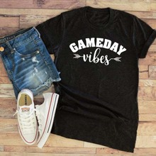 8f6190f9ade Summer Hipster Casual Gameday Vibes T-Shirt Funny Football Aesthetic Sports Tee  Football Mom Baseball