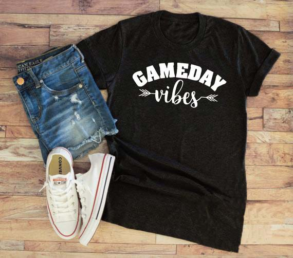 Summer Hipster Casual Gameday Vibes T-Shirt Funny Football Aesthetic Sports Tee Football Mom Baseball Mom Tops Arrow Vibes Shirt