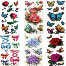 6pcs Temporary Tattoos Stickers On The Body 3D Rose Flower Bowknot Flash Tattoos For Women Water Transfer Stickers Fake Tattoos