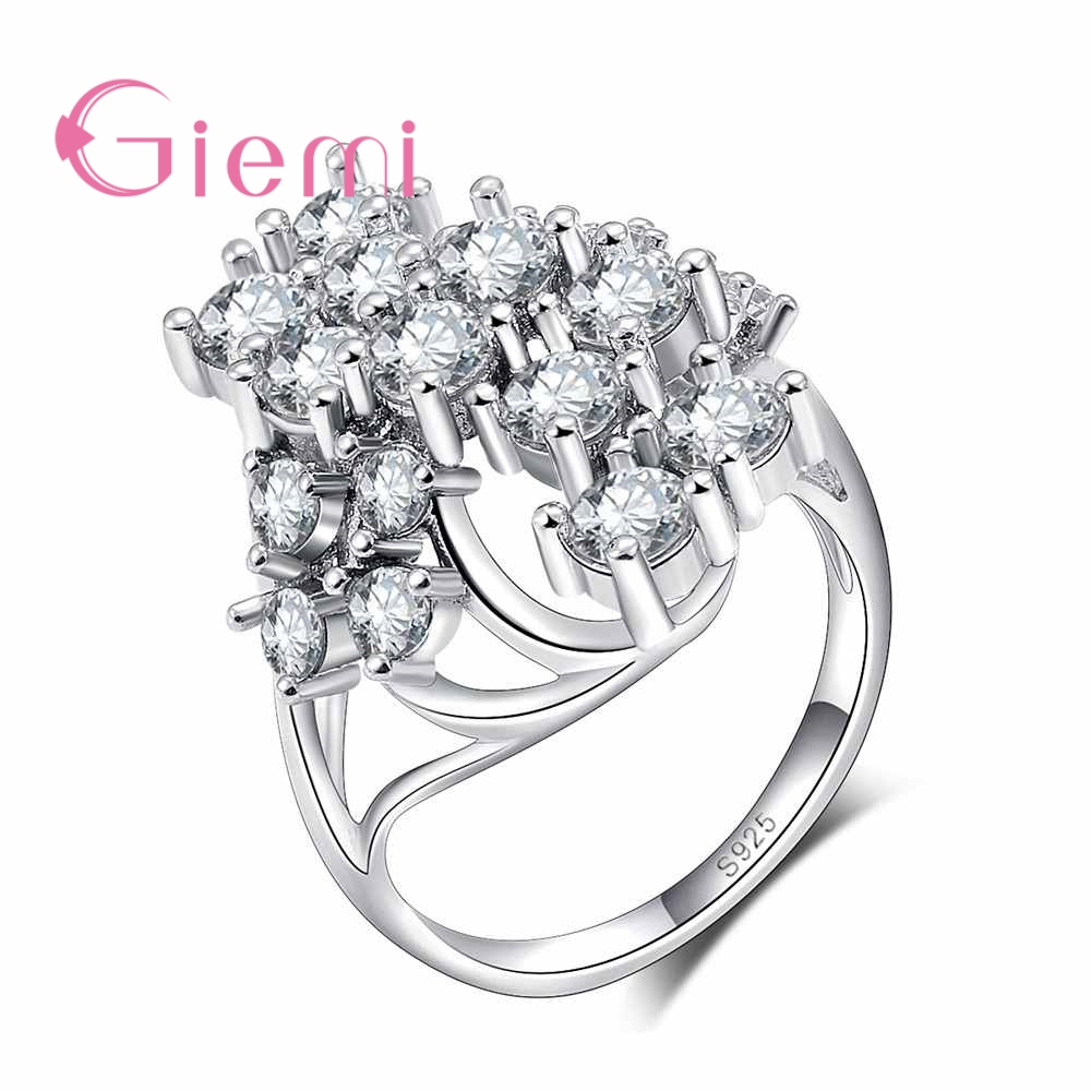 GIEMI Unique Flower Style 925 Sterling Silver Wedding Jewllery Bague AAA++ Cubic Zirconia Crystal Simple Finger Rings For Women