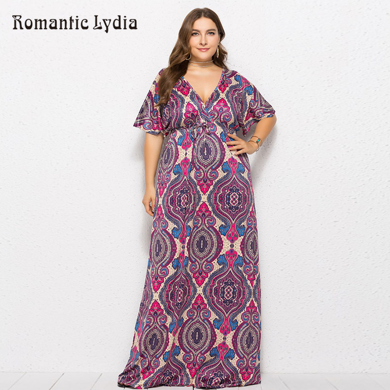 a2c18890c52 Plus Size Floral Dress Women Maxi Long Dresses Large Sizes Autumn Print V  Neck Floor Length Tropical Dress 2018