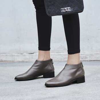 100% cow leather women shoes ankle boots woman low square heels ladies dress shoes spring autumn women boots large size 43