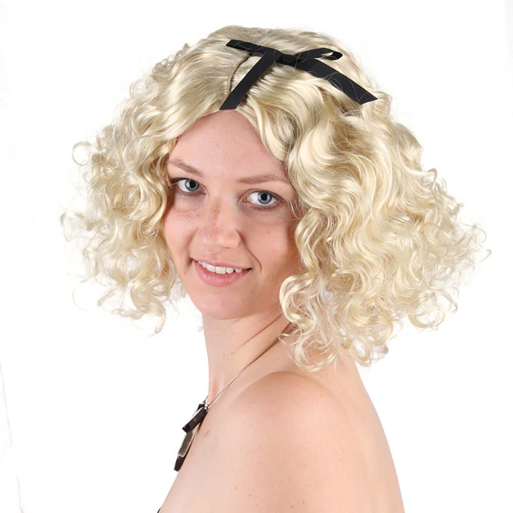 Ladies 80s Material Girl Madonna Blonde Hair Marilyn Monroe Short Curly Hair Sexy Fashion Pop Star Fancy Dress Party Accessories-in Costume Accessories from ...  sc 1 st  AliExpress.com & Ladies 80s Material Girl Madonna Blonde Hair Marilyn Monroe Short ...