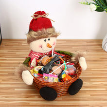 Cute Christmas Candy Storage Bamboo Xmas Gift Holder Basket Home Desktop Decoration Santa Claus Storage Basket Gift Ornament(China)