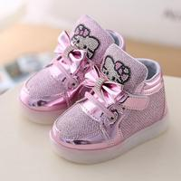 New Kitty Cat Diamond Princess Girls Sports Shoes Autumn Winter Cartoon LED Sneakers Korean Children High