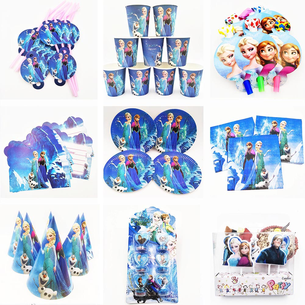 Disney Princess Frozen Anna Elsa Birthday Party Decoration Kids Supplies Disposable Tableware Tablecloth Plaes Cups Baby Shower