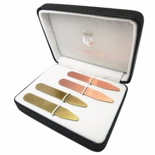 SHANH ZUN 4 Pcs Yellow & Red Brass Collar Stays Bones in Gift Box, 2.5