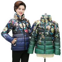 WAEOLSA Chinese Style Middle Aged Womens Casual Puffer Jacket Red Blue Green Black Padded Coat Woman