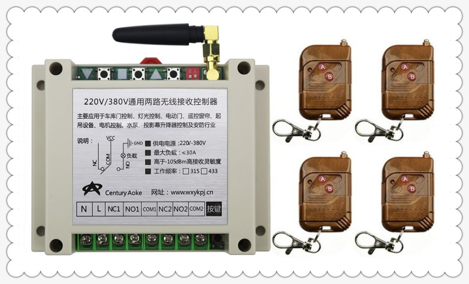 цена на AC220V 250V 380V 30A 2CH RF Wireless Remote Control Switch System 4 transmitter & 1 receiver relay Receiver Smart Home Switch