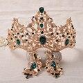 Nueva Joyería De Moda Barroca Magnífica Tiara Nupcial de Cristal Verde de La Vendimia Retro Corona De La Novia de La Boda Del Desfile de Pelo Accesorio