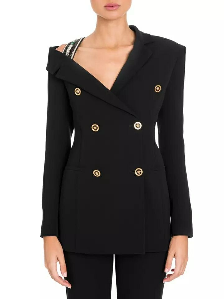 Women's Clothing New Fashion 2019 New Heavy Industry Nailing Beads Splice Sexy Gauze Long Sleeved V Collar Shirt Self-fitting Coat Blouse Fashion Black Suit Blazers